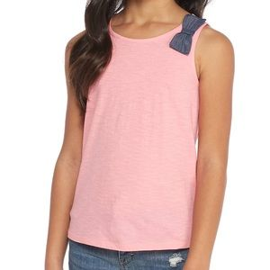 Crown & ivy tank with bow NWT pink green M XL